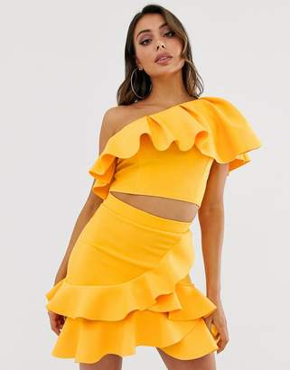 Laced In Love one shoulder frill scuba crop top in yellow