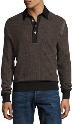 Tom Ford Textured Jacquard Polo Sweater, Black/Tan