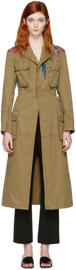 ValentinoValentino Green Embroidered Army Coat
