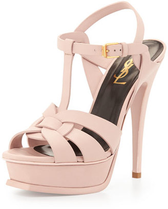 Saint Laurent Tribute Heel Patent Leather Platform Sandal, Light Rose $895 thestylecure.com