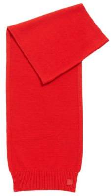 BOSS Hugo Structured-knit scarf in Italian yarn One Size Open Red