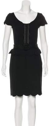 Christian Dior Short Sleeve Knee-Length Dress