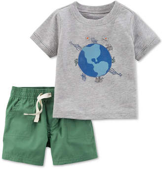 Carter's Little Planet Organics 2-Pc. Graphic-Print Cotton T-Shirt & Shorts Set, Baby Boys