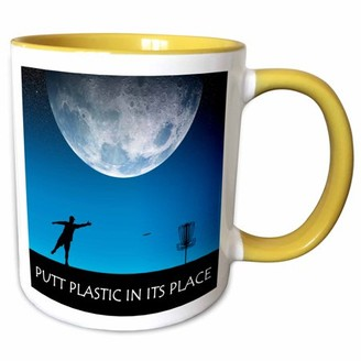 3dRose Putt Plastic In Its Place 6 silhouette of frisbee disc golfer putting under the moon - Two Tone Yellow Mug, 11-ounce