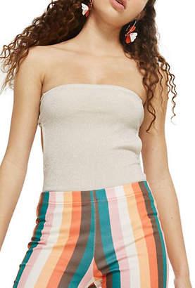 Topshop Glitter Bow Back Bodysuit