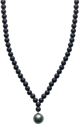 A+ro Ora Pearls ARO Men's Large Tahitian Pearl & Onyx Necklace