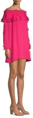 Parker Isa Off-The-Shoulder Silk Shift Dress