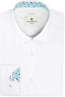 Con. Struct Men's Slim-Fit Stretch Novelty White Dress Shirt