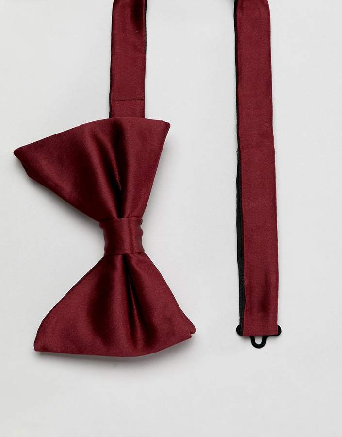 MOSS BROS Moss London Bow Tie In Burgundy Sateen