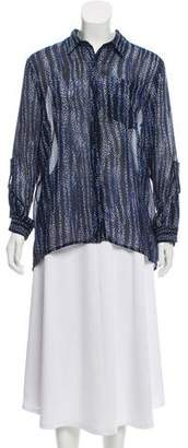 MICHAEL Michael Kors Silk Printed Button-Up Top