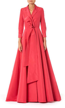 Carolina Herrera Notched Lapel Trench Gown