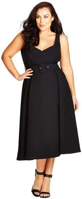 City Chic Belted Sweetheart Neck Tea Length Dress