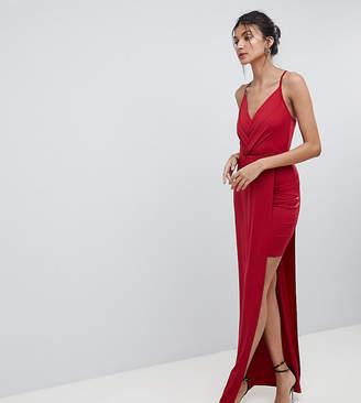 Asos Tall TALL Slinky Wrap Mini Dress With Maxi Overlay