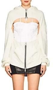 Taverniti So Ben Unravel Project Women's Snake-Print Cotton Corset Hoodie - White