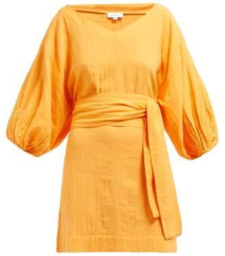 Rhode Resort Arya Belted Slubbed Cotton Mini Dress - Womens - Orange