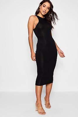 boohoo NEW Womens Basic Racer Front Midi Dress in Viscose 5% Elastane