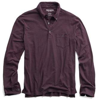 Todd Snyder MADE IN L.A. LONG SLEEVE POLO in Burgundy