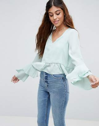 Asos DESIGN Blouse with Ruffle Sleeve