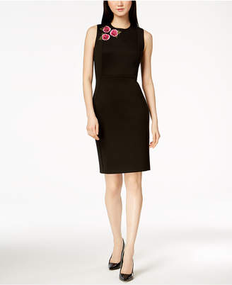Calvin Klein Embroidered Scuba Sheath Dress