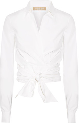 Michael Kors Collection - Stretch Cotton-poplin Wrap Blouse - White $575 thestylecure.com