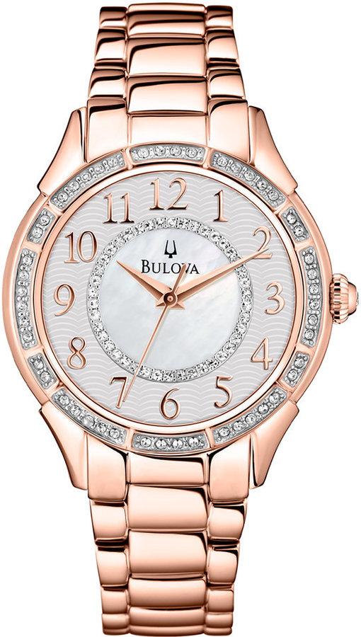 Bulova Women's Rose Gold-Tone Stainless Steel Bracelet Watch 33mm 98L183
