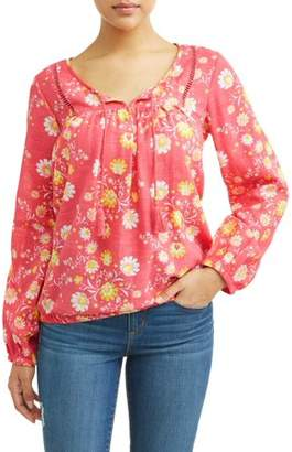 Sofia Jeans Boho Peasant Tassel Longsleeve Top Women's (Coral Floral)