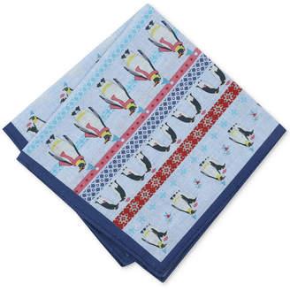 Bar III Men's Fair Isle Penguin-Print Pocket Square, Created for Macy's