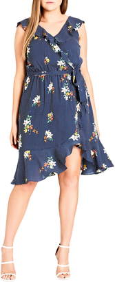 City Chic Spot the Floral Faux Wrap Dress