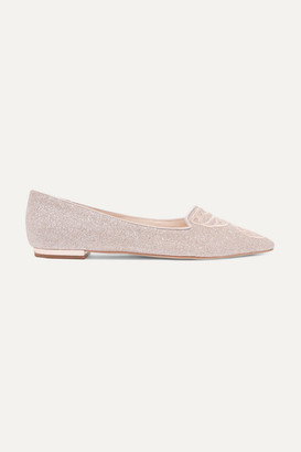 Sophia Webster Bibi Butterfly Embroidered Glittered Leather Point-toe Flats - Metallic