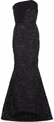 Roland Mouret Kinlet Strapless Crepe-Paneled Metallic Cloqué Gown