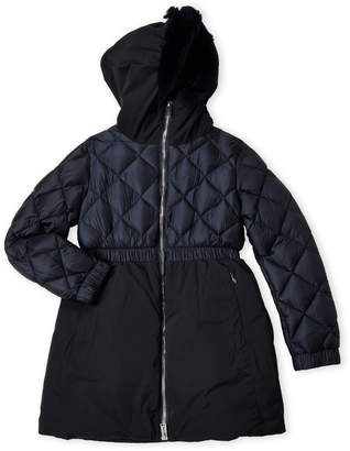 ADD Girls 7-16) Navy Real Fur Trim Hooded Parka