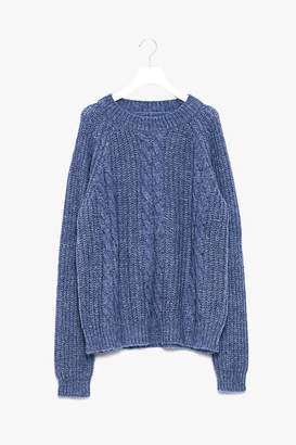 Genuine People Oversized Cable Knit Sweater