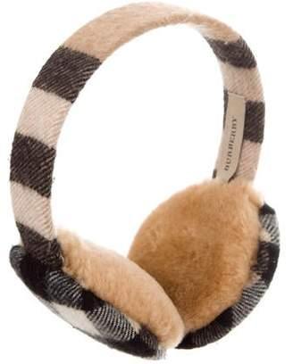 1db1b4fbff9 Burberry Nova Check Shearling-Lined Earmuffs