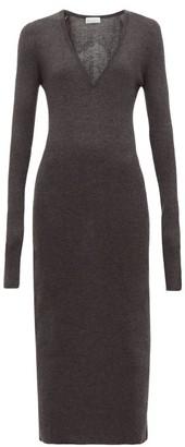 Raey Deep V Fine Rib Cashmere Dress - Womens - Charcoal