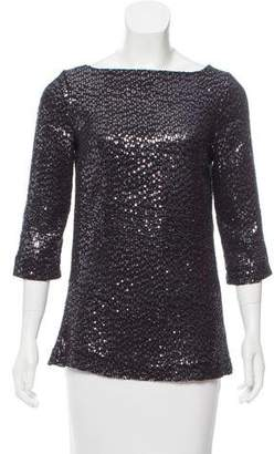 Tory Burch Sequin Embellished Silk Top