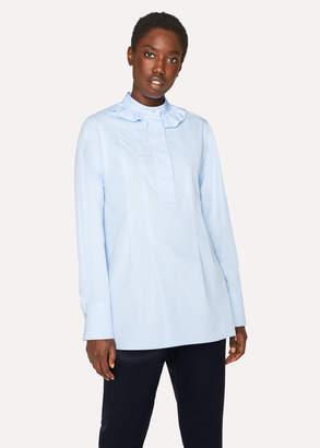 Paul Smith Women's Light Blue Cotton Band-Collar Shirt With Frills