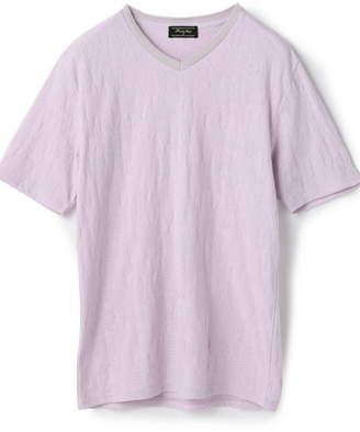 Men's Bigi (メンズ ビギ) - MEN'S BIGI リーフジャガード 半袖VネックTシャツ メンズ ビギ カットソー