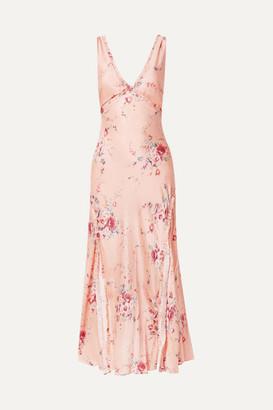 LoveShackFancy Kendall Ruffled Floral-print Silk-satin Maxi Dress - Pink