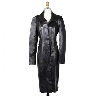 Gucci Black Leather Trench coats