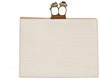 Alexander McQueen Crocodile-effect leather clutch