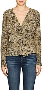 Rag & Bone Women's Leopard-Print Silk Blouse - Dk. Green