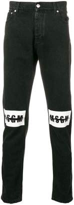 MSGM ripped logo jeans