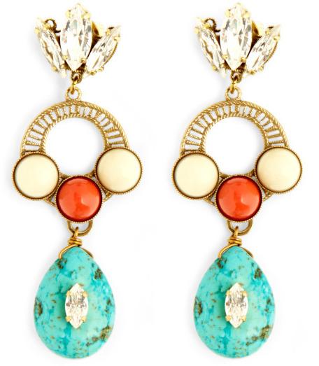 Anton Heunis Crystal Leaf With Turquoise Drop Earrings