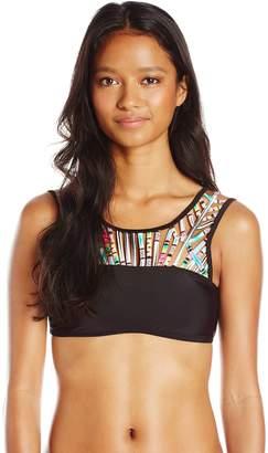 Hobie Women's Striped Surprise Strappy High Neck Bikini Top