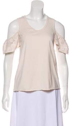 See by Chloe Lace-Trimmed Cold Shoulder Top