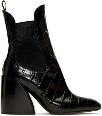 Chloé Black Croc Wave Chelsea Boots