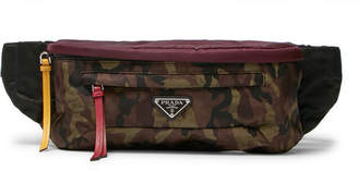 Prada Saffiano Leather-Trimmed Camouflage-Print Nylon Belt Bag