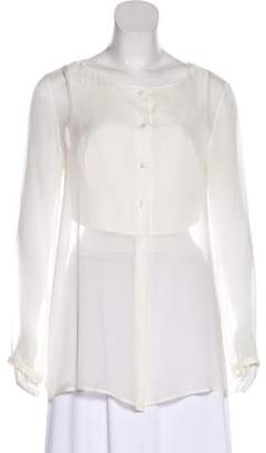 Emporio Armani Silk Layered Long Sleeve Blouse