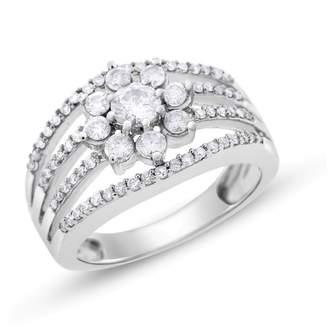 White Gold 1.00 Ct. Natural Diamond Multiple Split Floral Flower Cocktail Ring Size 7