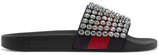 Gucci Pursuit Crystal-embellished Leather And Rubber Slides - Black